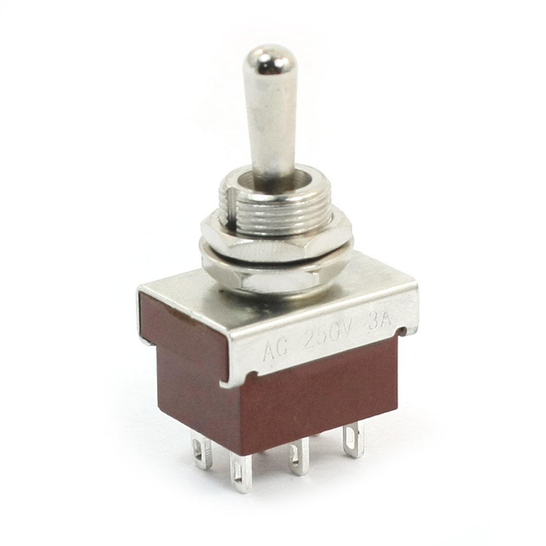 12mm Panel Mount DPDT ON/OFF/ON Locking Toggle Switch AC250V 3A