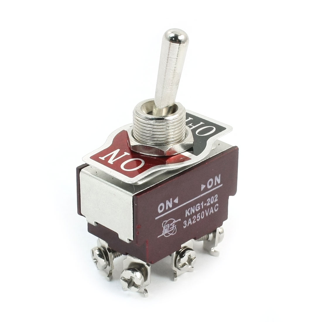 12mm Panel Mount DPDT 2 Positions 6-Terminals Toggle Switch AC250V 3A