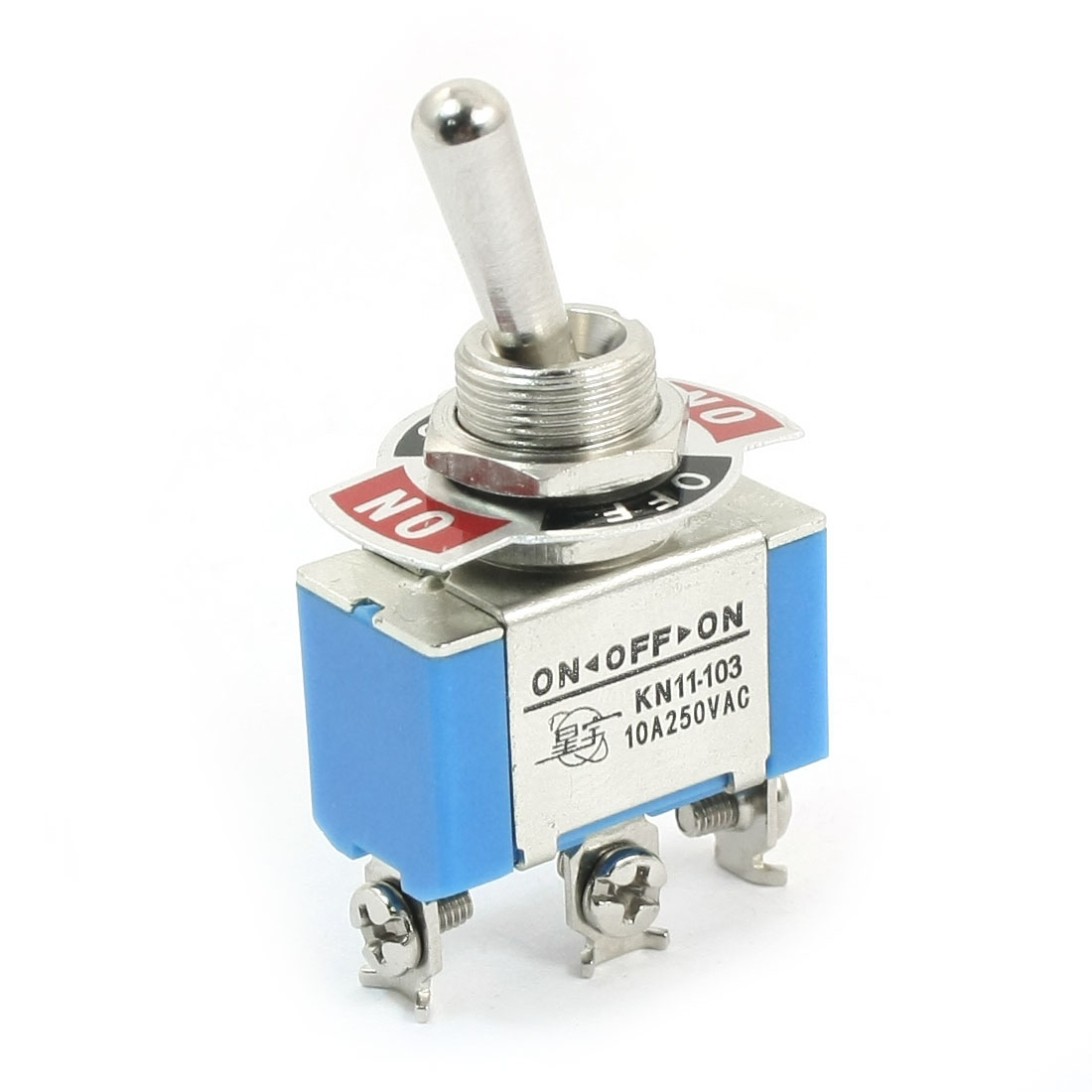 AC250V 10A SPDT 3 Positions 12mm Panel Cutout Dia Rocker Type Toggle Switch