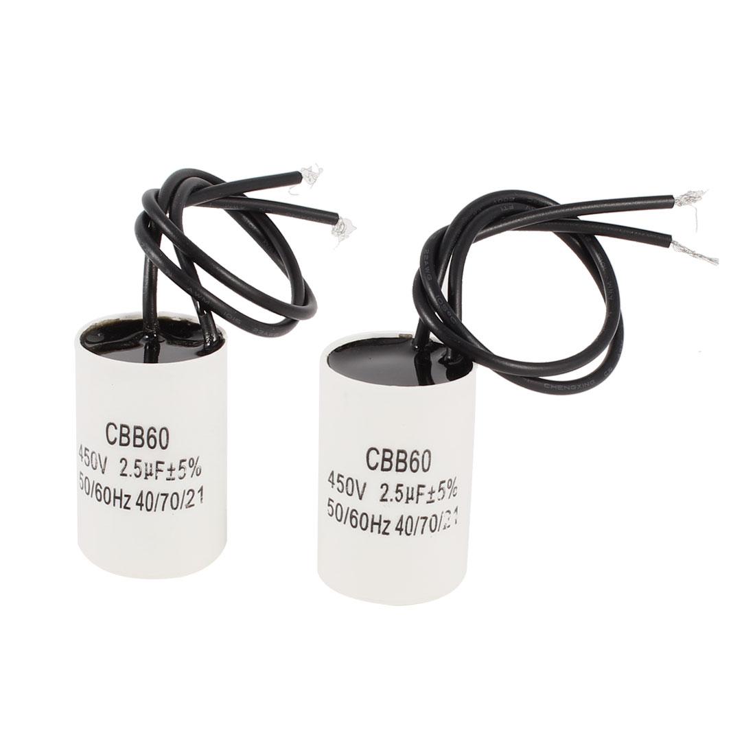 CBB60 AC 450V 2.5uF 50/60Hz Cylinder Shape Non Polar Motor Capacitor 2pcs