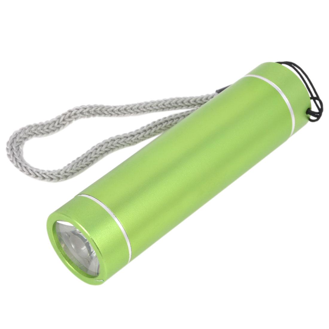 Household Green Aluminum Case White Light LED Bulb Flashlight Torch w Strap