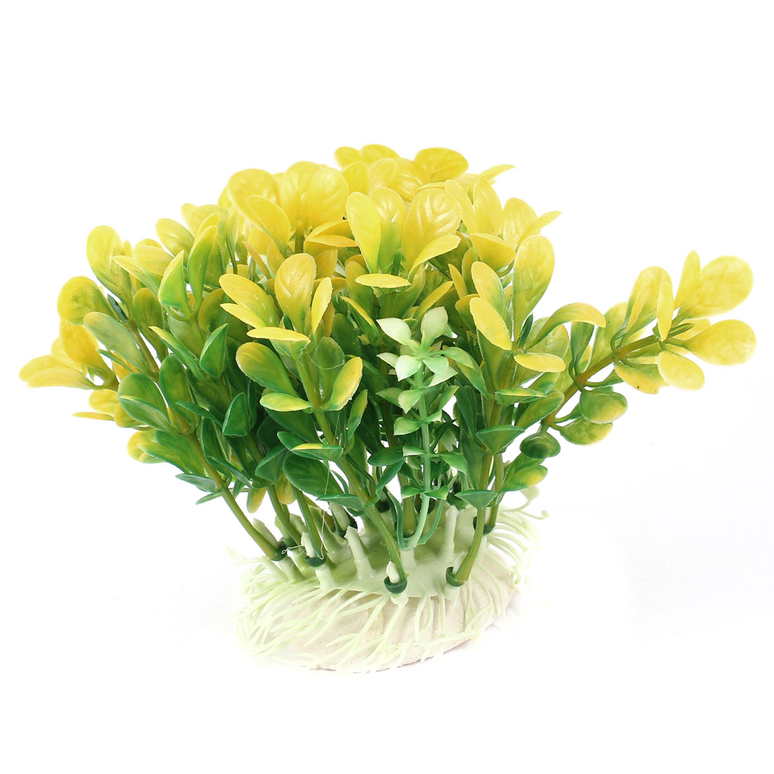 "Aquarium Fish Tank Ornament Landscaping Artificial Emulational Underwater Water Plant Grass Decor Green Yellow 4"" Height"