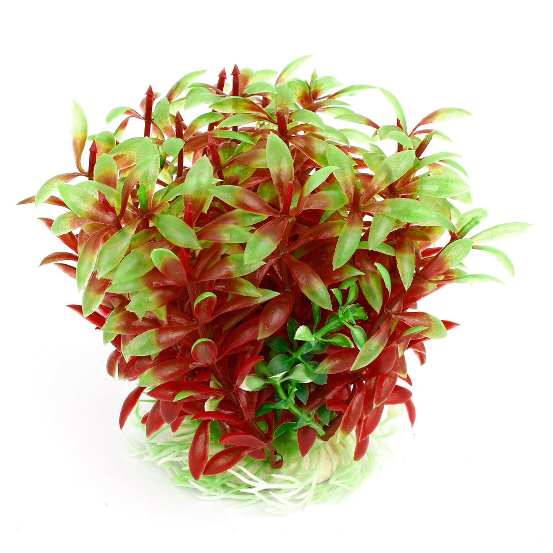 "Aquarium Tank Plastic Green Red Leaf Plant Decoration 5.1"" Height"