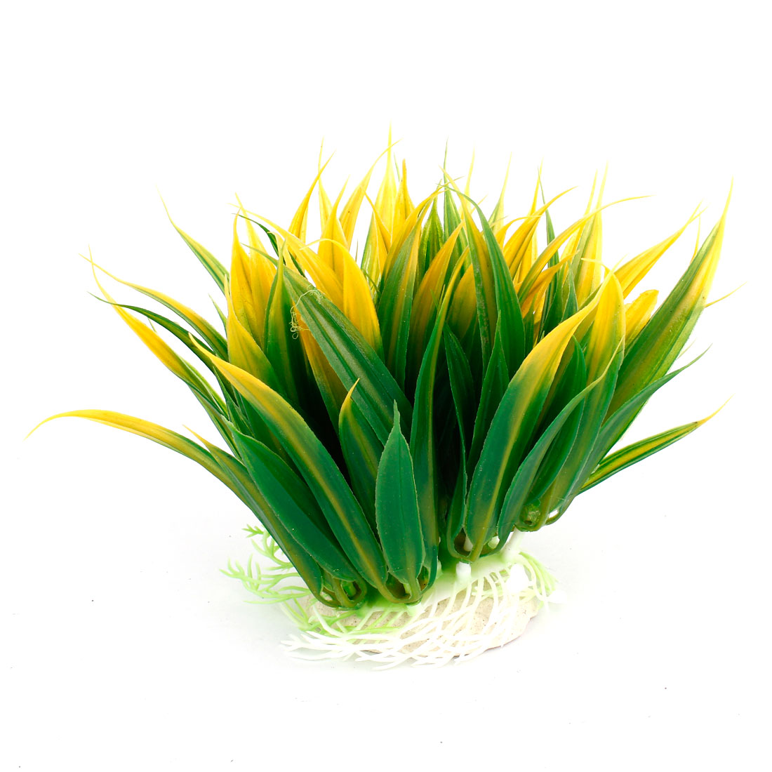 "Aquarium Tank Plastic Grass Plant Decoration Green Yellow 4.7"" Height"