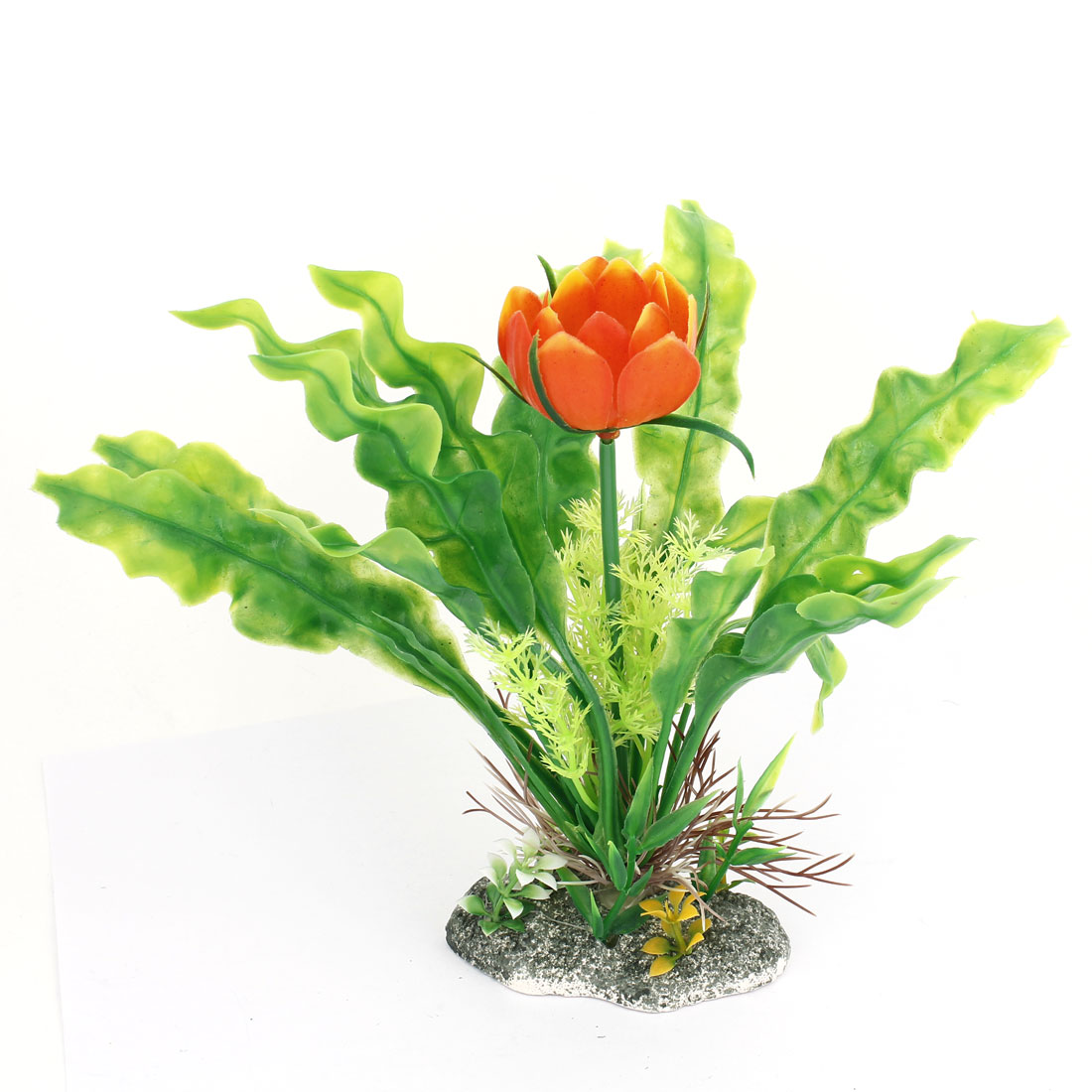 "Aquarium Orange Flower Green Leaf Plastic Grass Plant Decor 8"" Height"