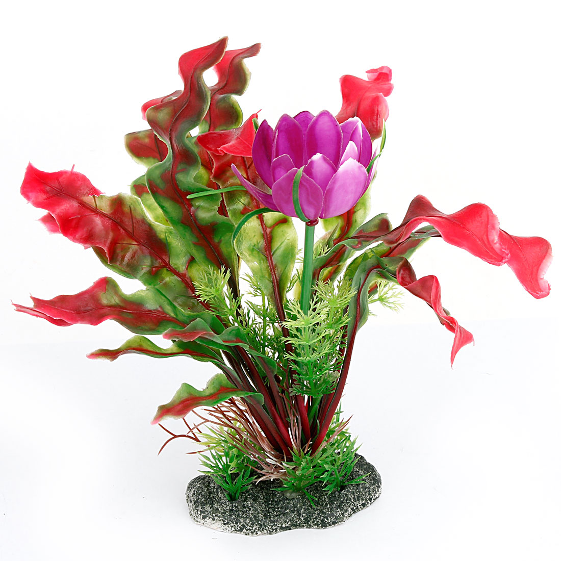 "Aquarium Purple Flower Plastic Grass Plant Decor 8"" Height"