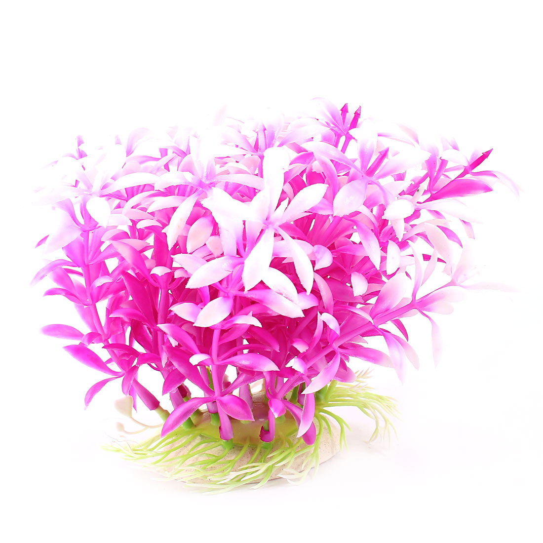 "Aquarium Fish Tank Ornament Landscaping Artificial Emulational Underwater Water Plant Grass Decor Fuchsia White 4.3"" Height"