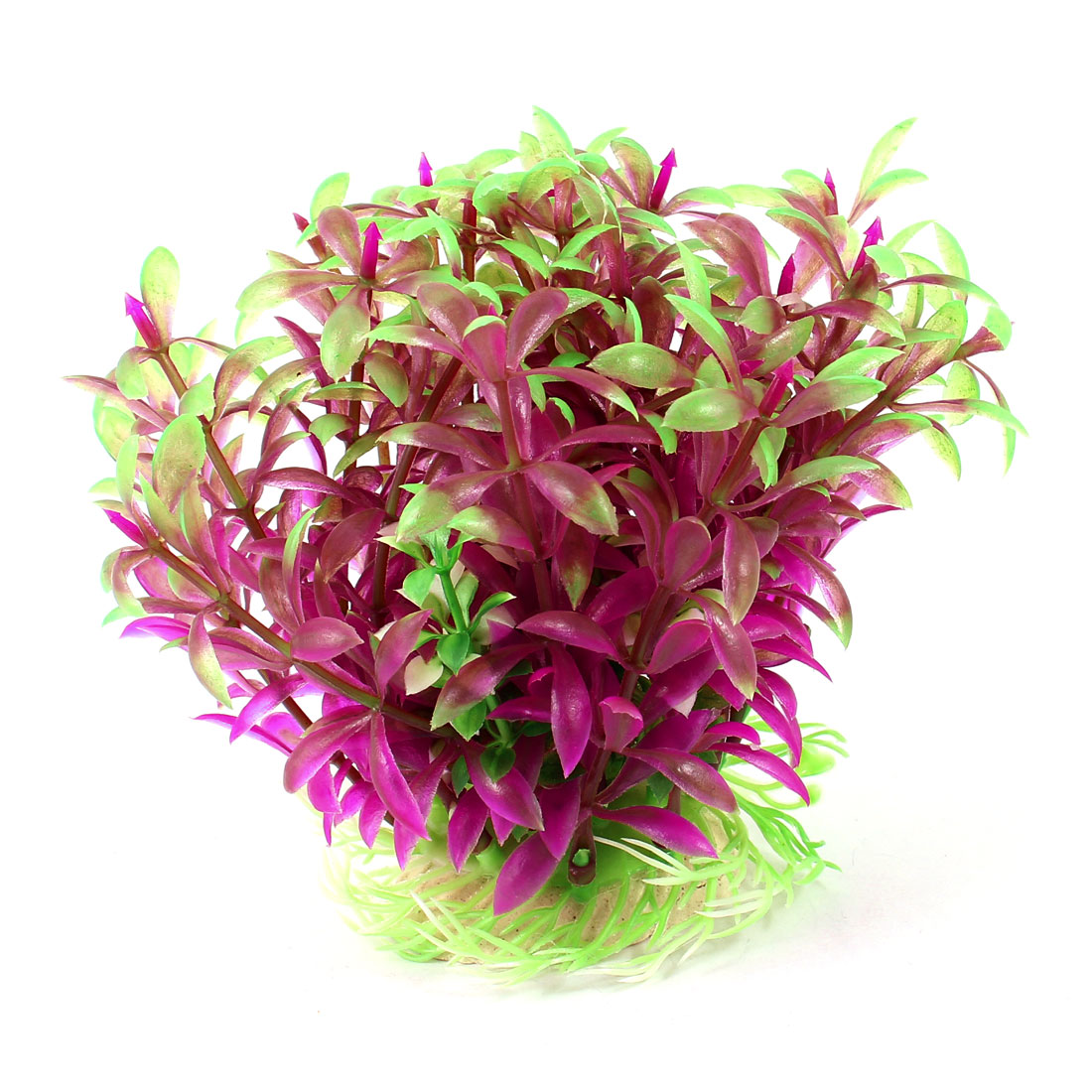"Aquarium Fish Tank Ornament Landscaping Artificial Emulational Underwater Water Plant Grass Decor Green Fuchsia 4.7"" Height"