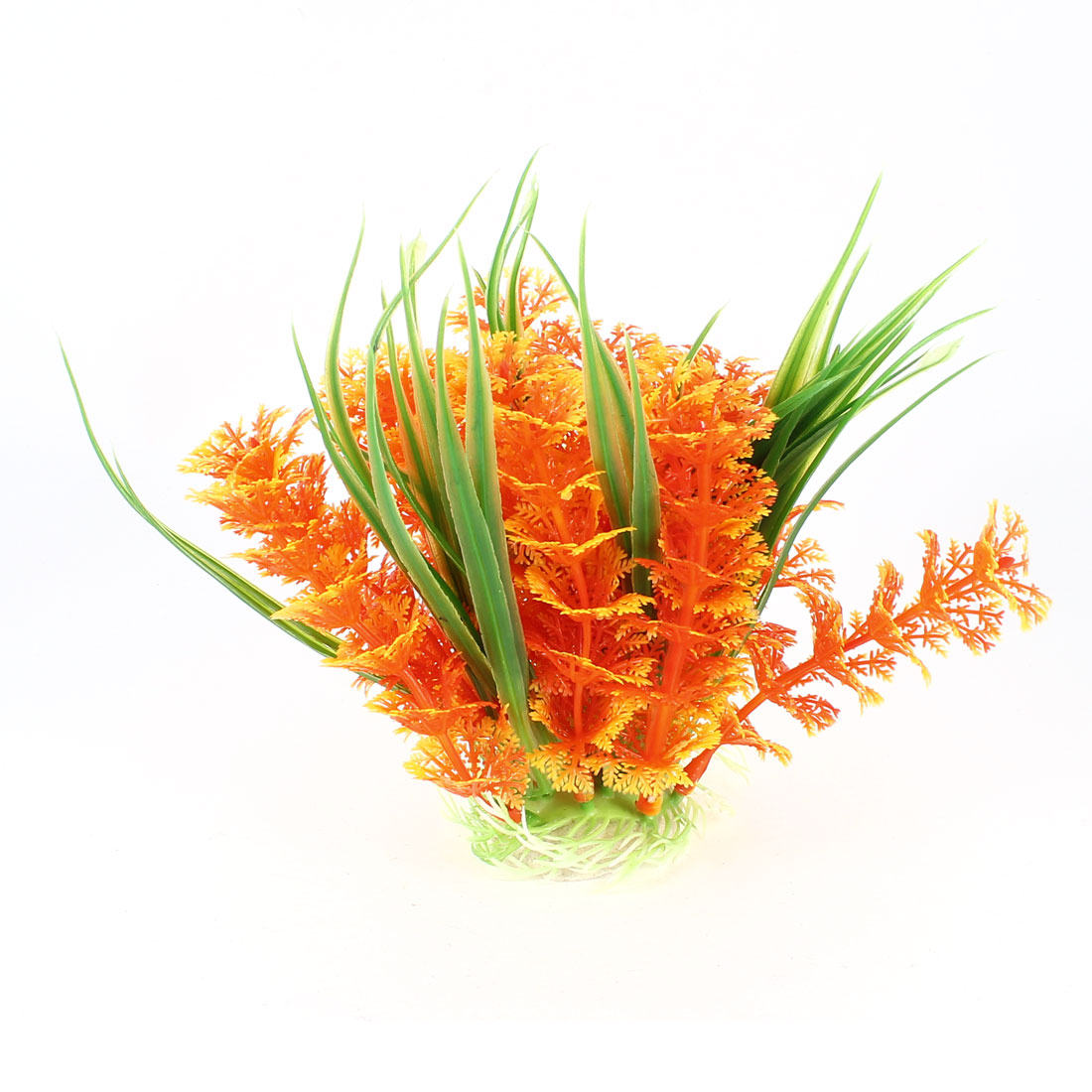 12cm High Fish Tank Simulated Orange Green Plastic Ornament Water Grass