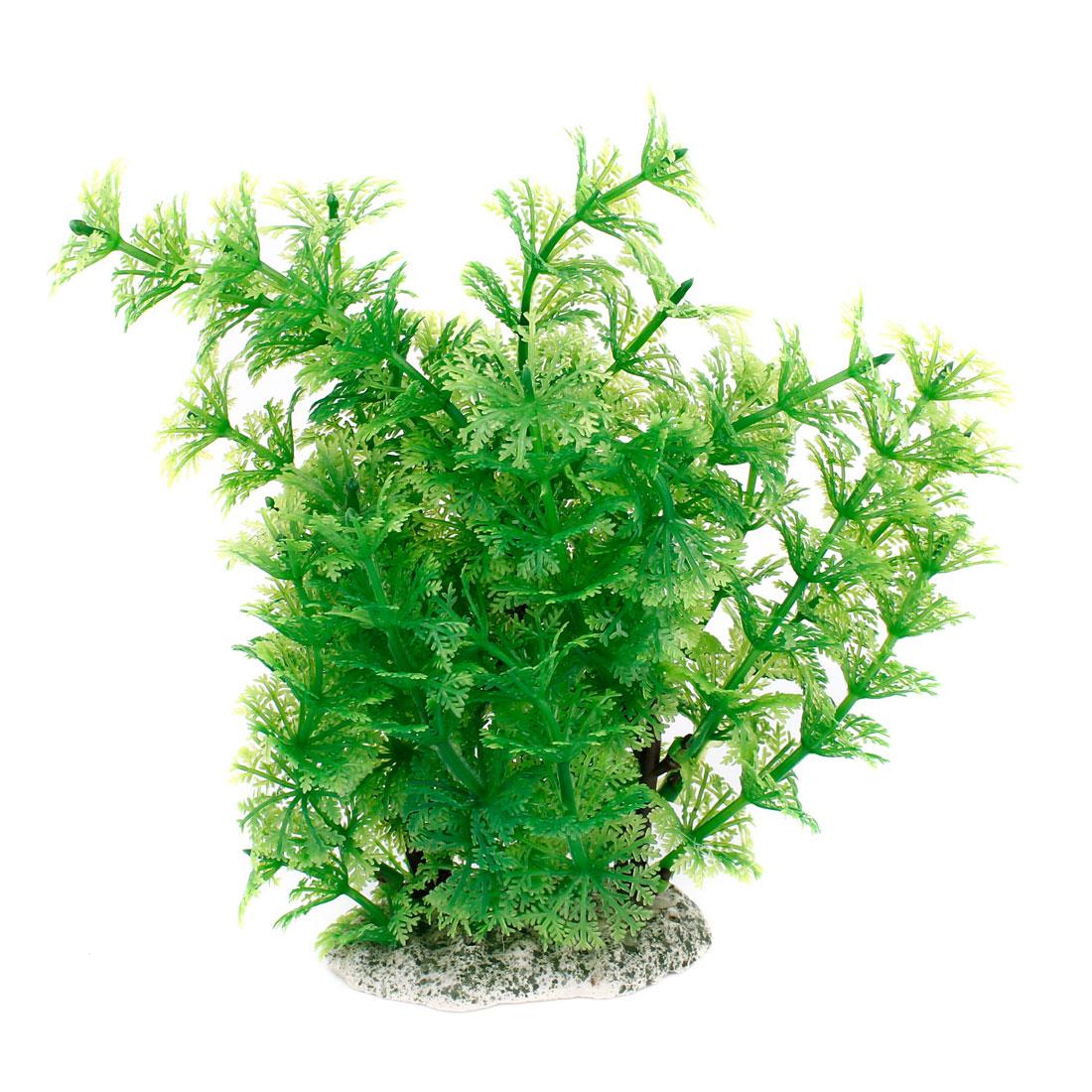 "Aquarium Ornament Plastic Simulation Water Plant Green 8"" High"