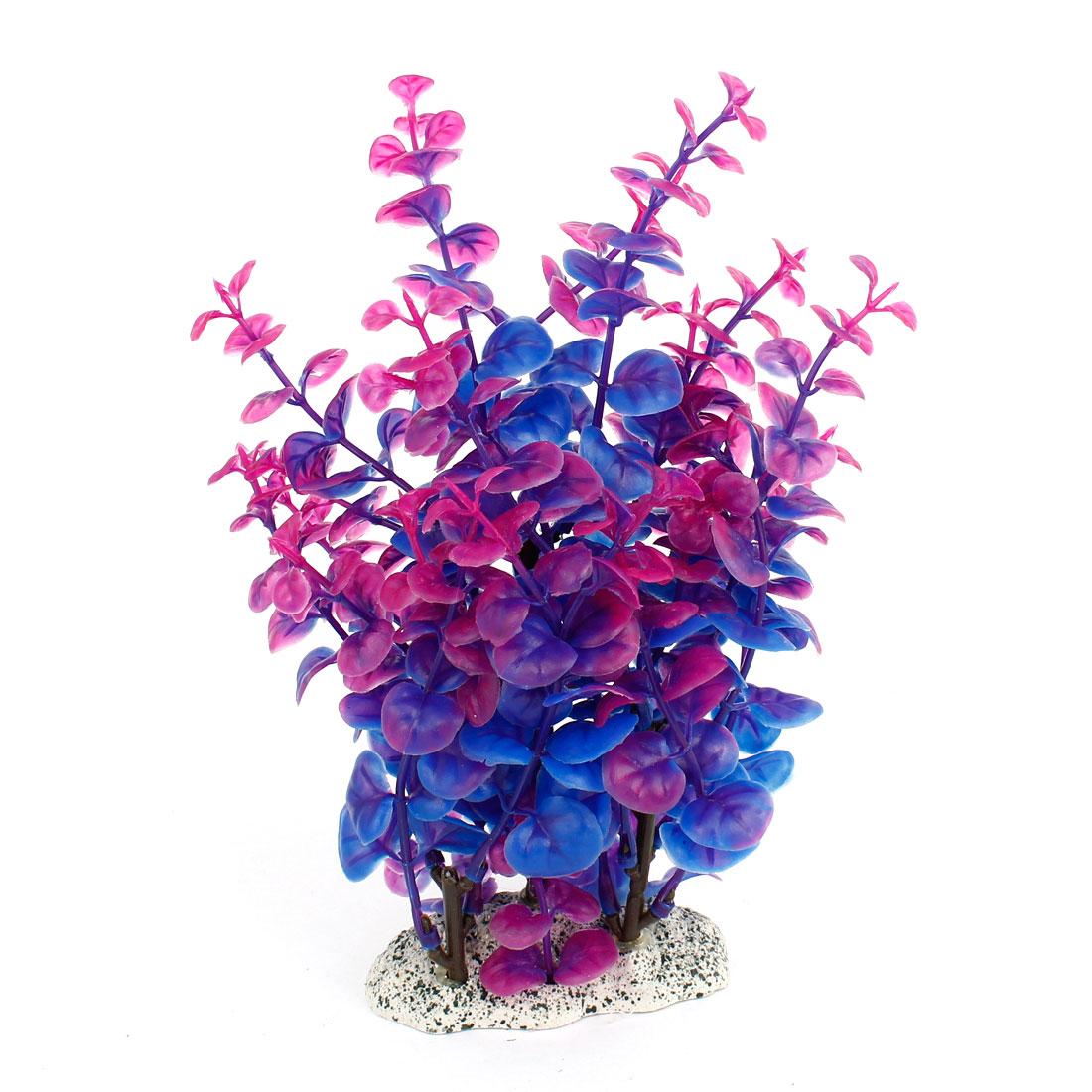 "Aquarium Tank Plastic Grass Plant Decor Dark Blue Purple 8"" Height"