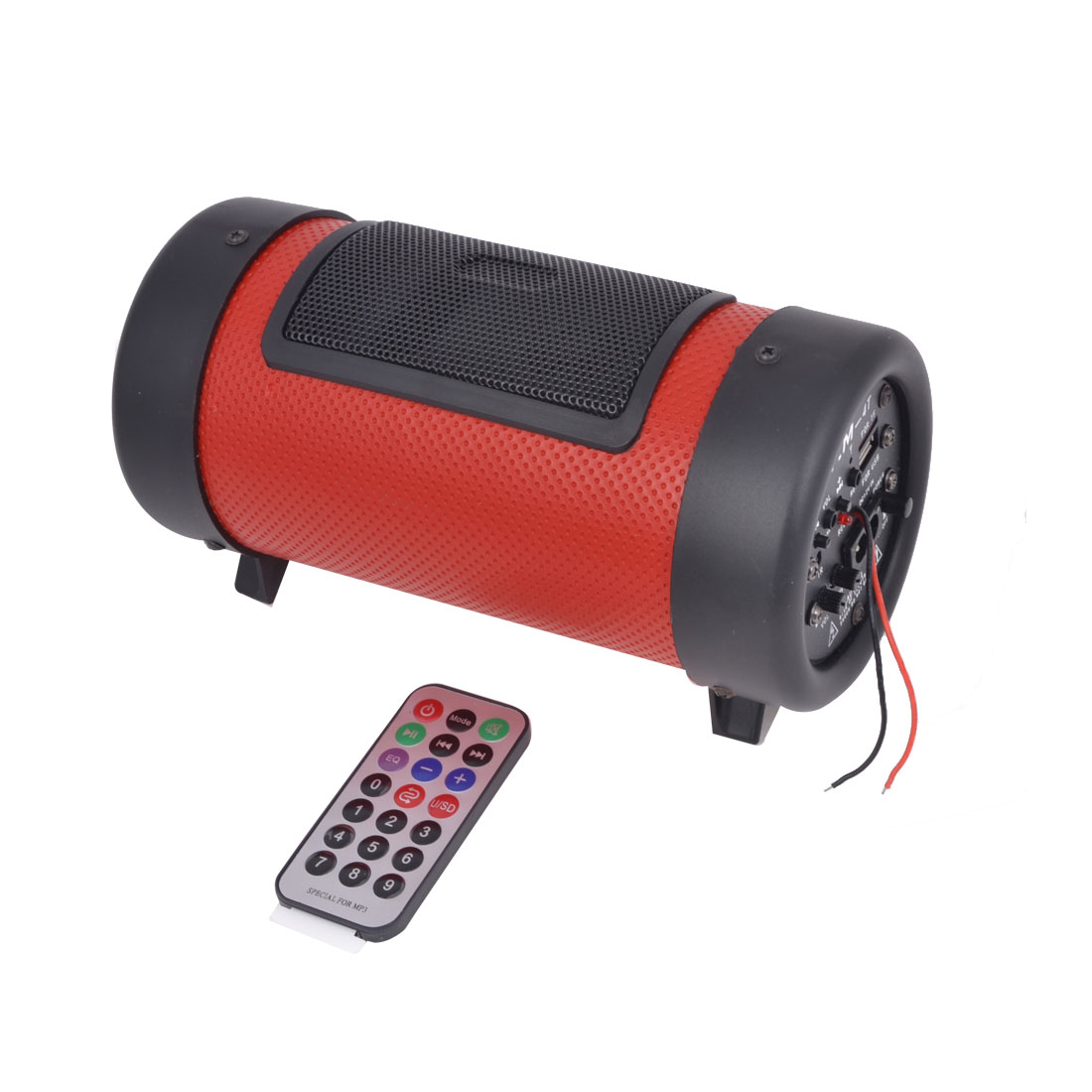 UK Plug AC 110-240V DC 12V Cylinder Design Motorcycle Car Subwoofer Speaker MP3 Player Red Black 22x9.5cm