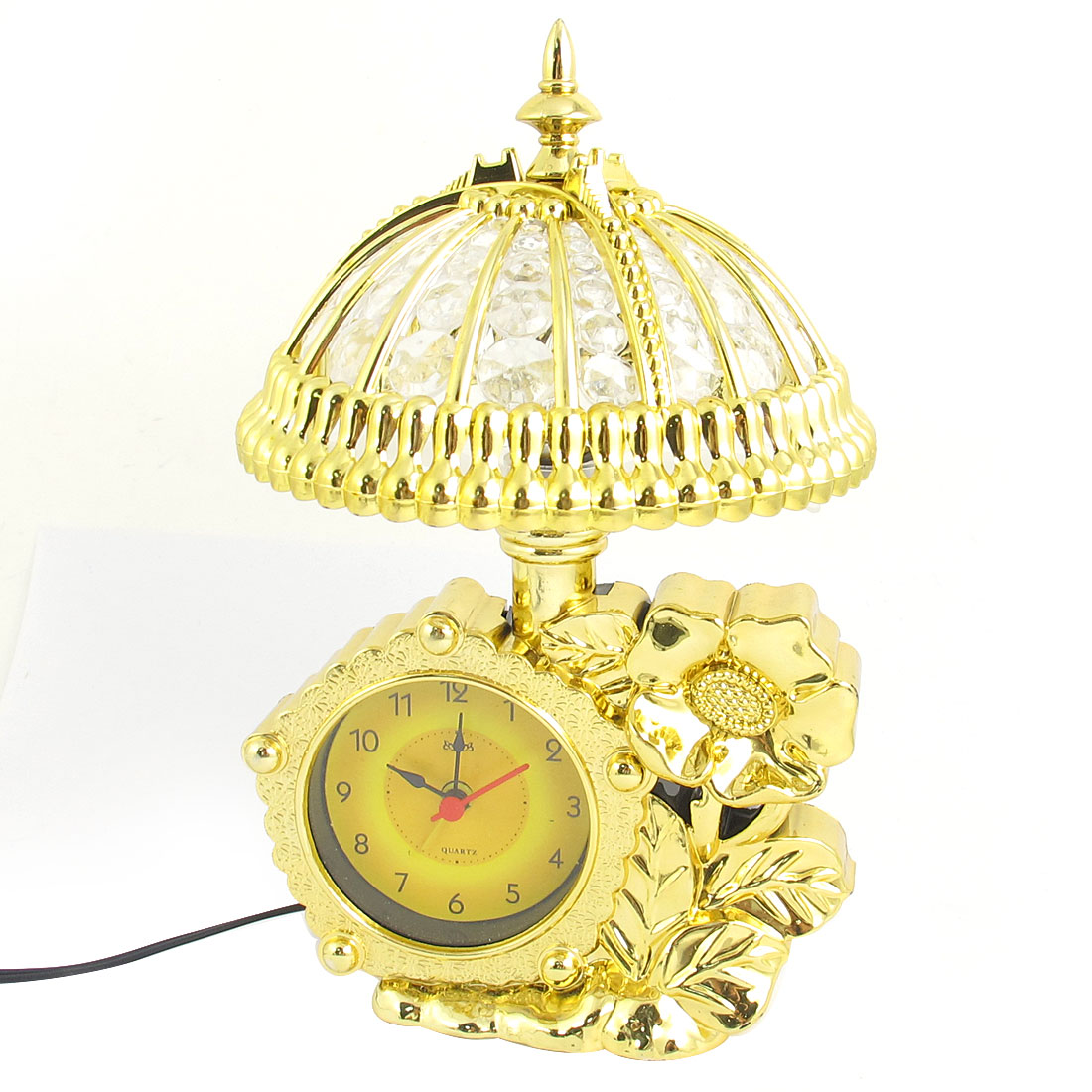 Home Multifunction Arabic Number Round Dial Semicircle Gold Tone Shade Floral Embossed Desk Table Alarm Clock Lamp UK Plug AC 250V