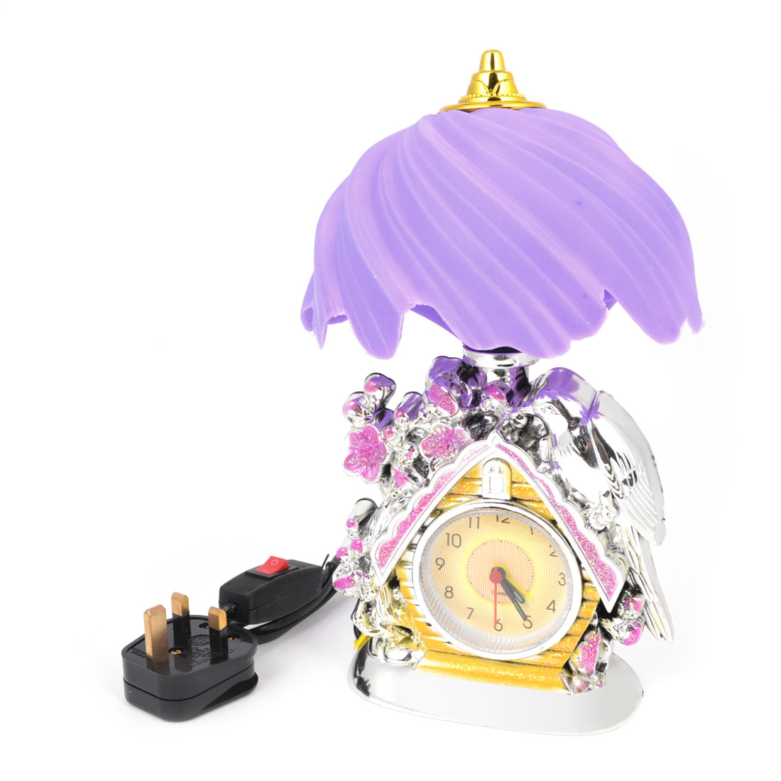 Purple Shade Flower Birds Decor House Design Arabic Number Round Dial Desk Table Alarm Clock Table Lamp UK Plug AC 110V/220V