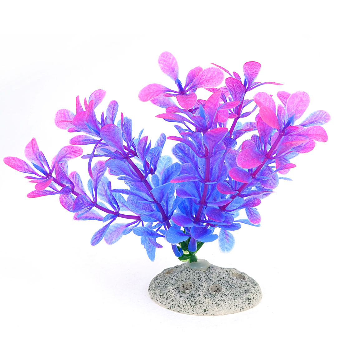 "4.7"" Height Fish Tank Ornament Perforated Ceramic Base Manmade Aquatic Plant Purple"