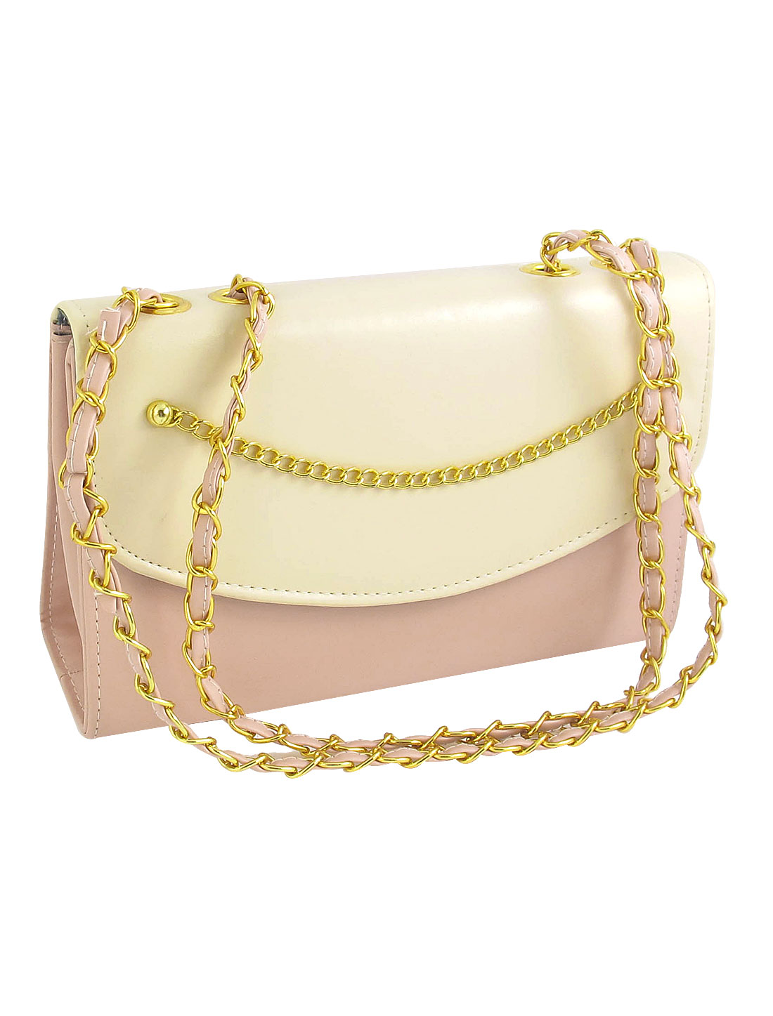 Women Magnet Button Zipper Closure Gold Tone Chain Decor 3 Compartment Pink Faux Leather Handbag Shoulder bag