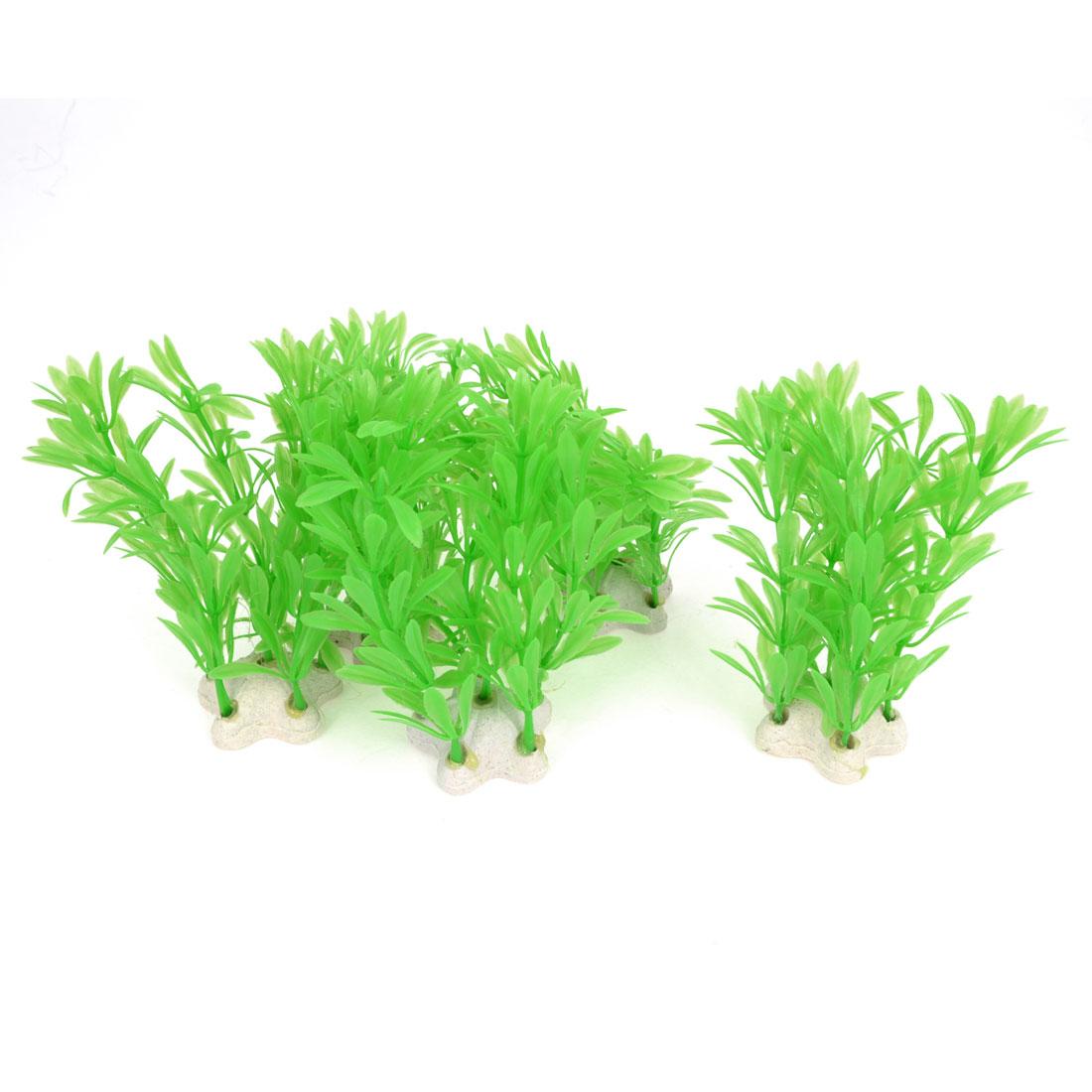 "Fish Tank Landscaping Star Shape Ceramic Base 4.7"" Height Aquatic Plant Grass Tree Green 5 Pcs"