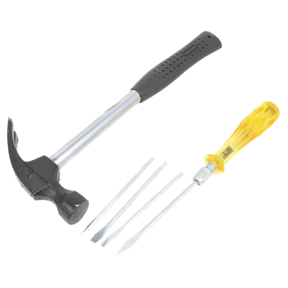 2 in 1 Plastic Nonslip Handle Slotted Phillips Screwdriver Hammer Hand Tool Set
