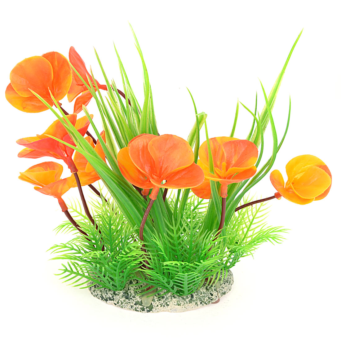 "7.1"" Height Aquarium Decor Perforated Base Artificial Aquatic Plant Flower Orange Green"