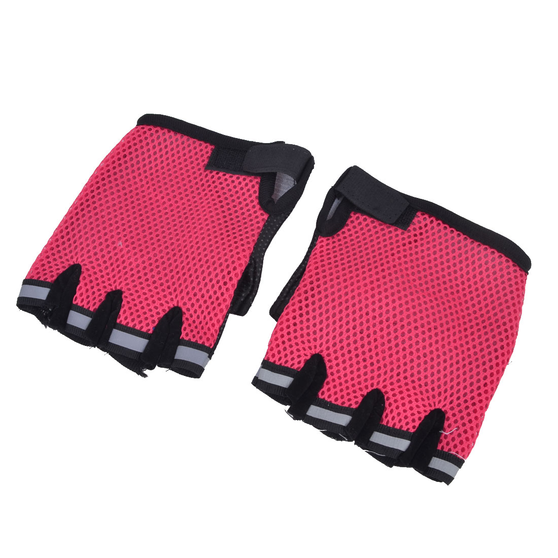Unisex Pair Black Red Palm Hook Loop Closure Wrist Short Half Fingers Sports Gloves