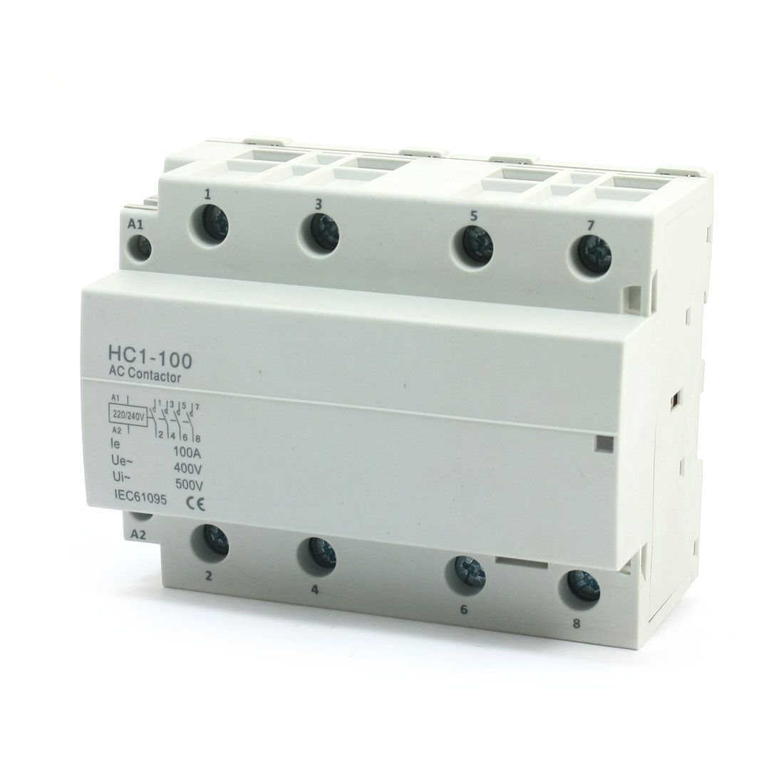 35mm DIN Rail Mount AC400V 100A 4Pole Household Modular AC Contactor