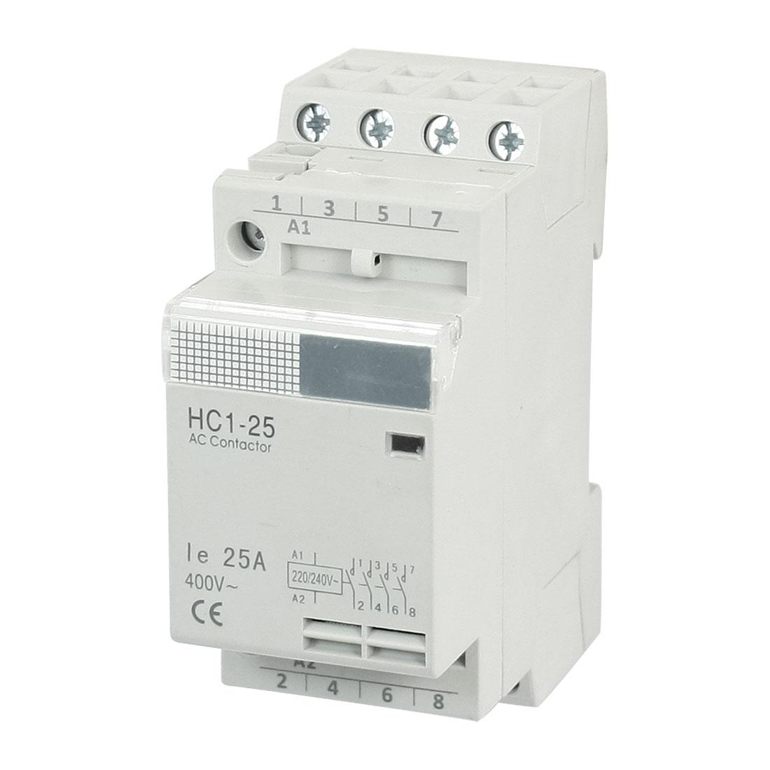 HC1-25 4Pole 35mm DIN Rail Mount Module AC Contactor 220/240V Coil 25A