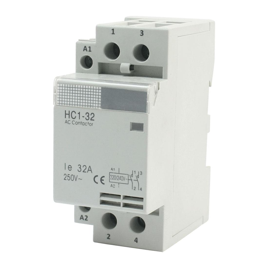 HC1-32 Household 220/240V Coil 32A AC 250V 2P Enclosed AC Contactor