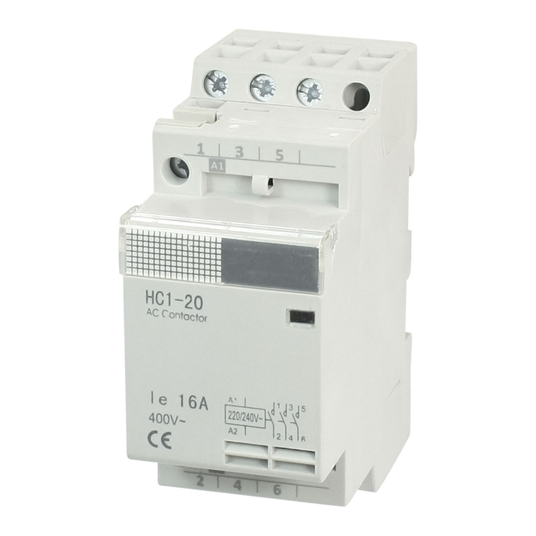 HC1-20 3 Pole DIN Rail Mounting Module AC Contactor 220/240V Coil 16A