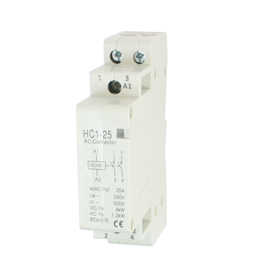 AC240V 25A 2 Poles 2P Household Enclosed AC Contactor 35mm DIN Rail