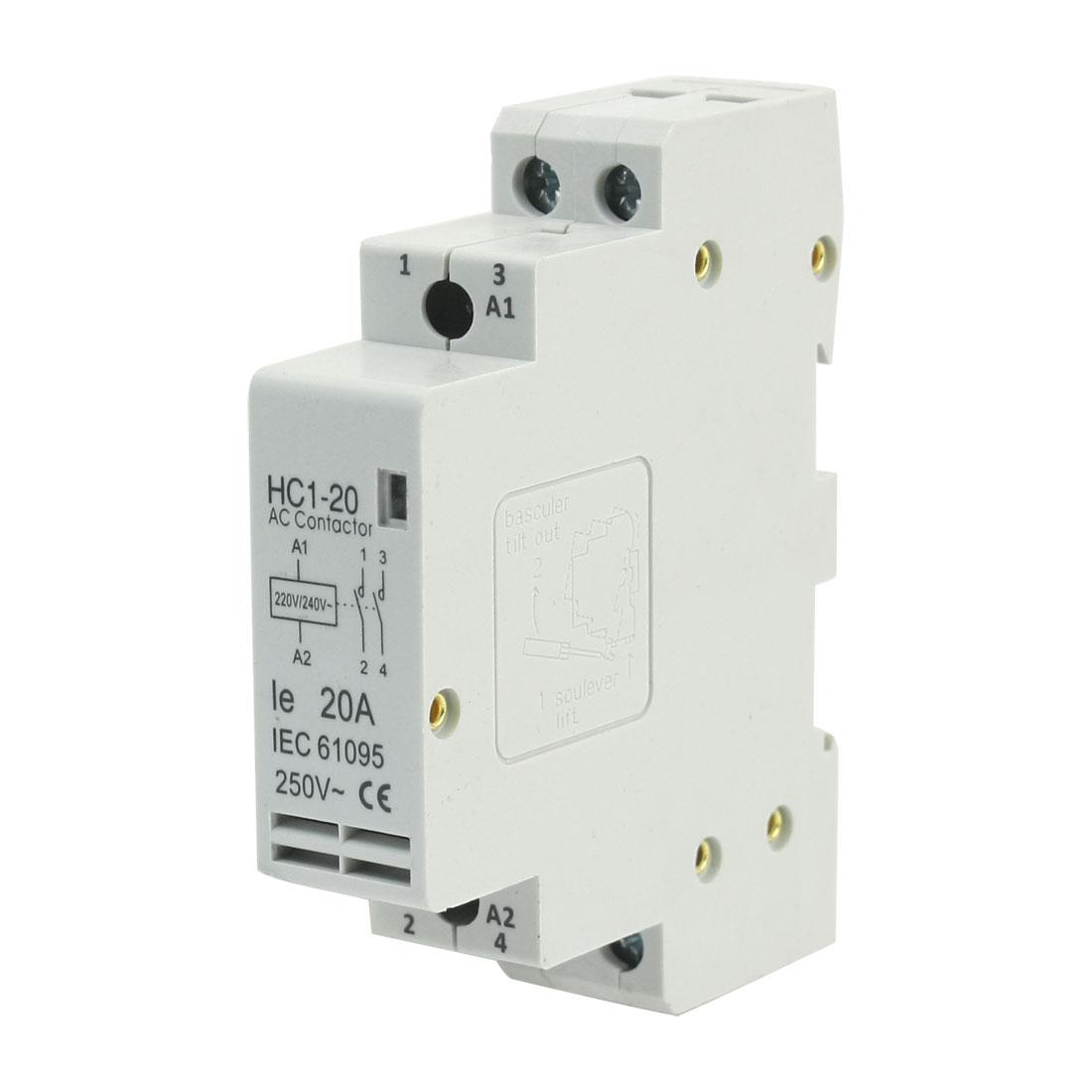 HC1-20 Household 220/240V Coil 20A AC 250V 2P Enclosed AC Contactor