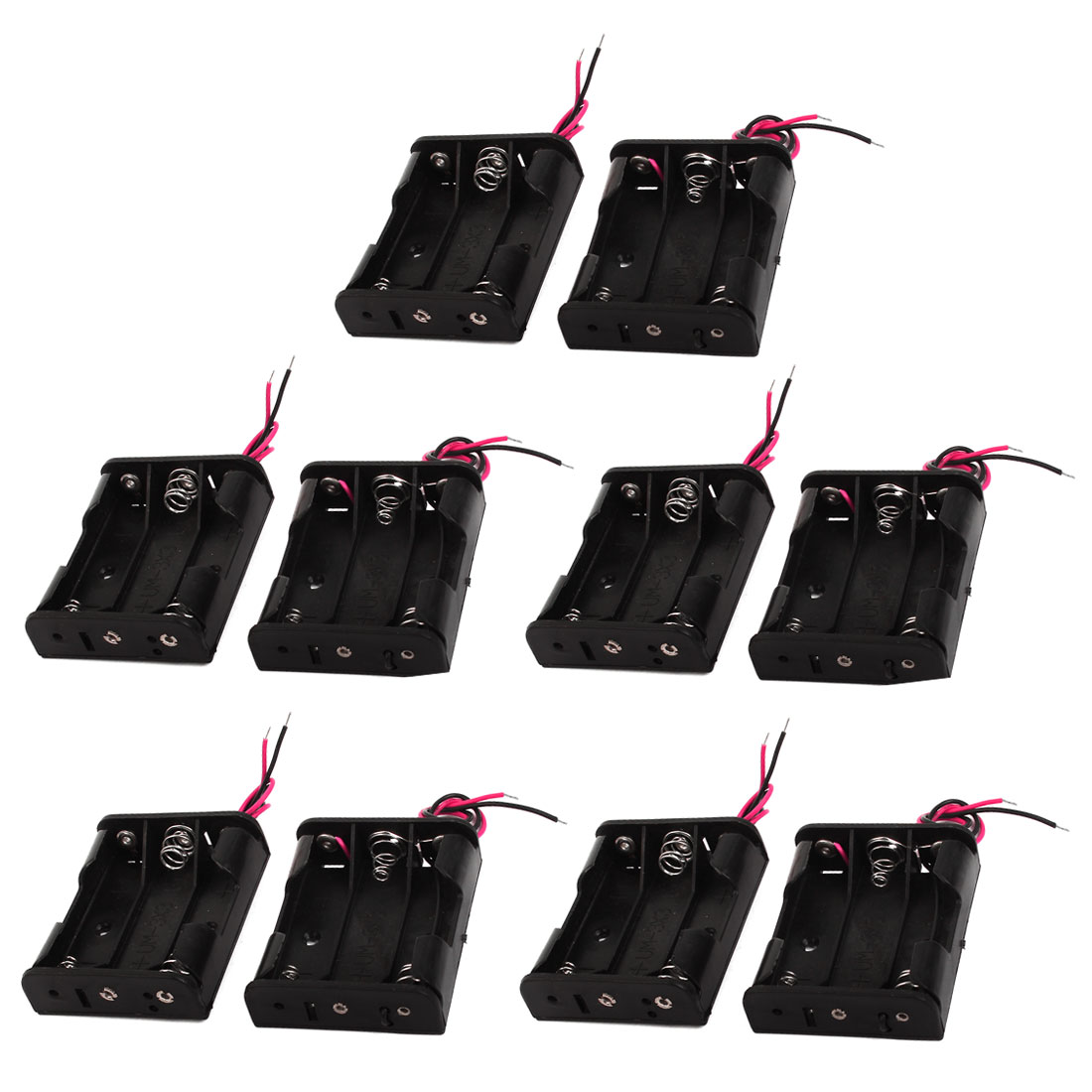 10pcs Spring Clip Black Plastic Shell 3 x 1.5V AA Battery Box Case Holder