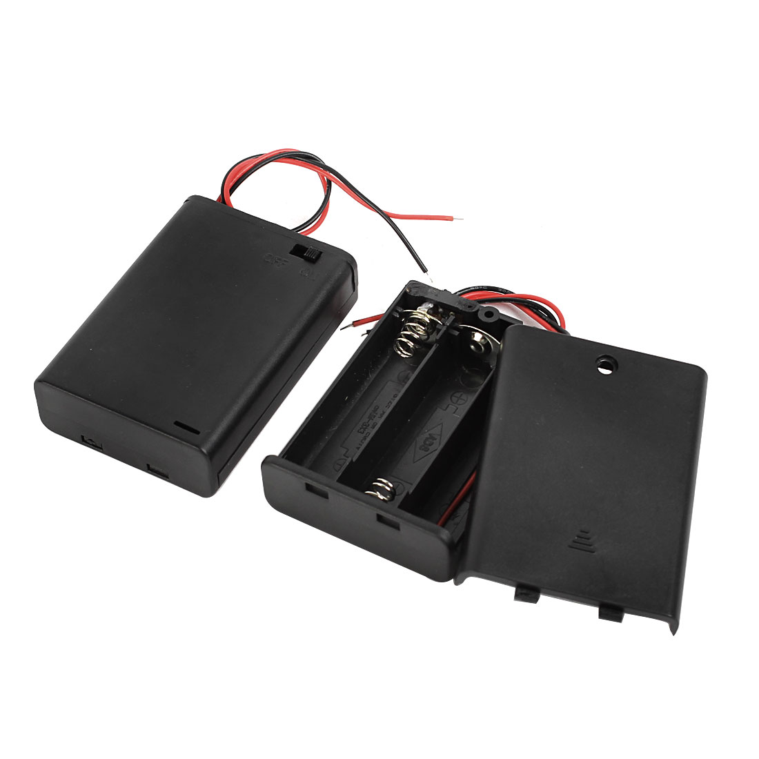2pcs Wired Leads Black Battery Storage Case Slot Holder 3 x 1.5V AA