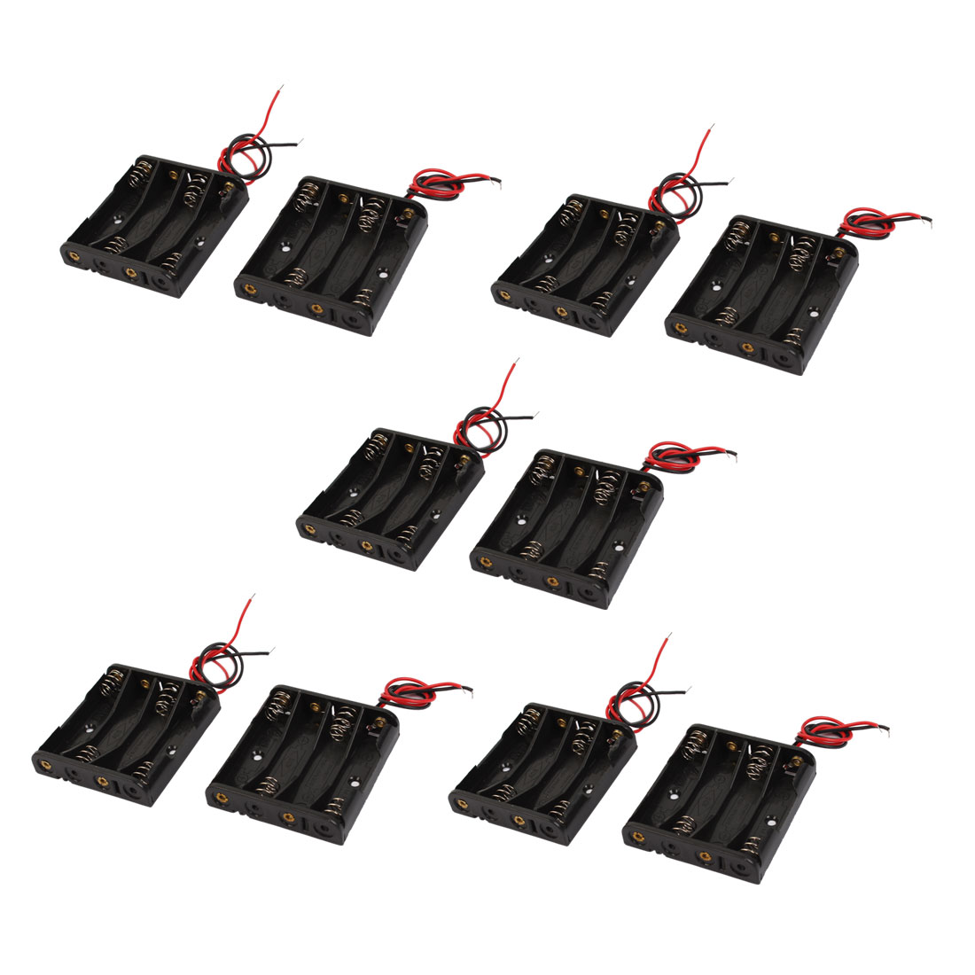 10 Pcs Wired Leads Black Battery Storage Case Slot Holder 4 x 1.5V AAA