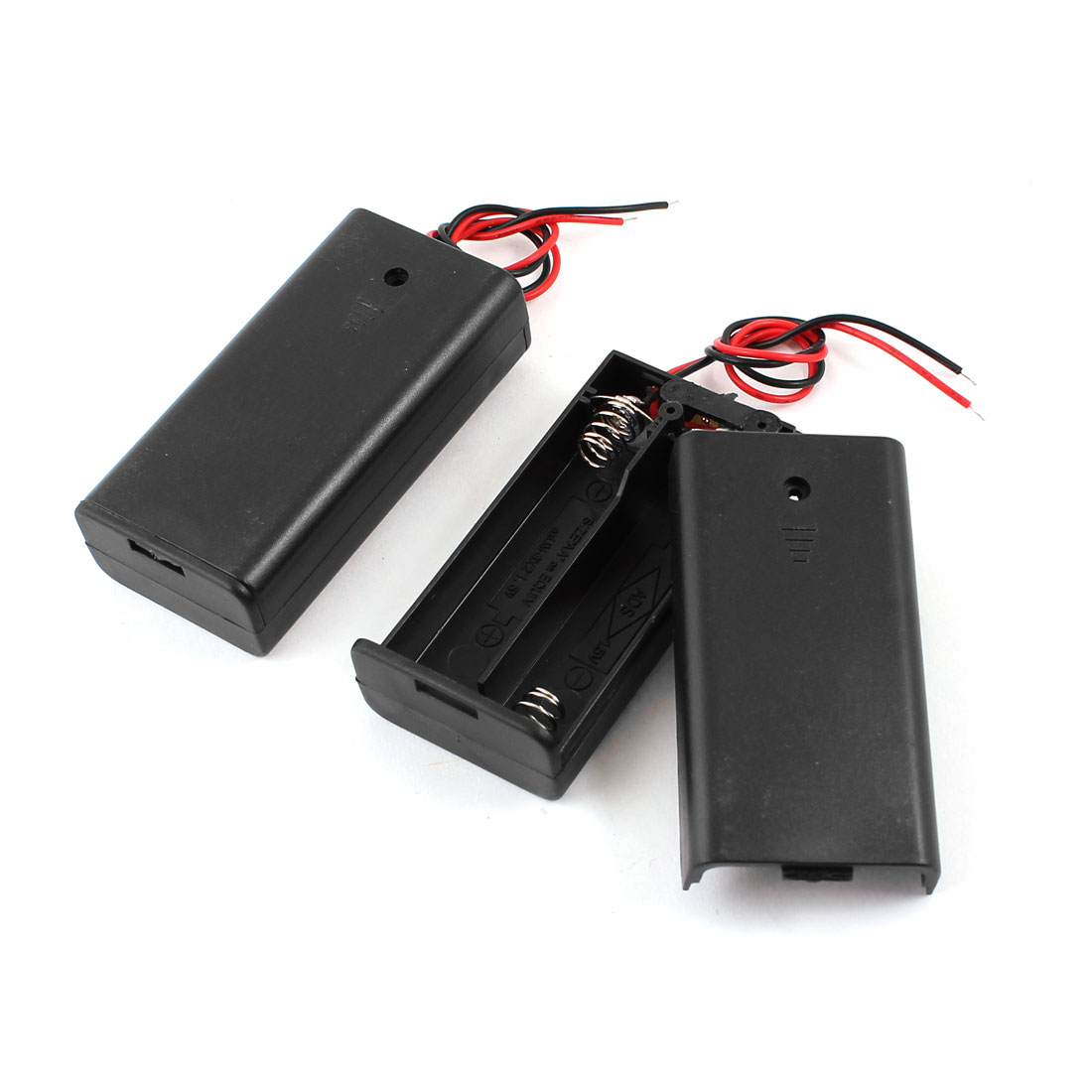 2 Pcs 2-Wire Black 2 x 1.5V AA Battery Batteries Holder Case w Cover