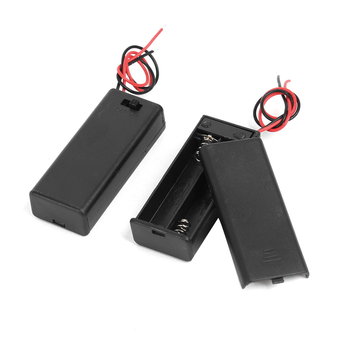 2pcs Spring Clip Black Plastic Shell 2 x 1.5V AAA Battery Box Case Holder