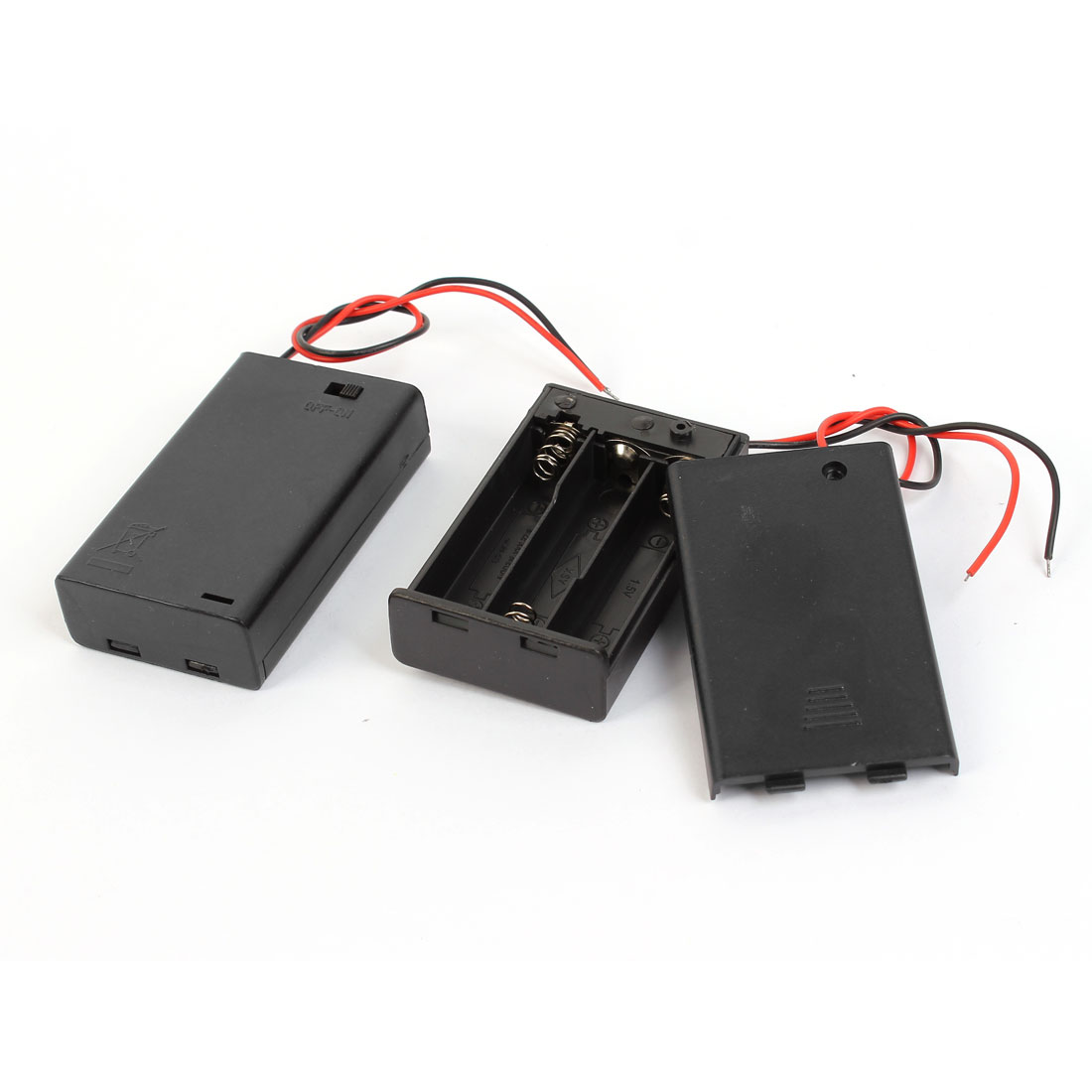 2 Pcs Wired Leads Black Battery Storage Case Box Holder 3 x 1.5V AAA