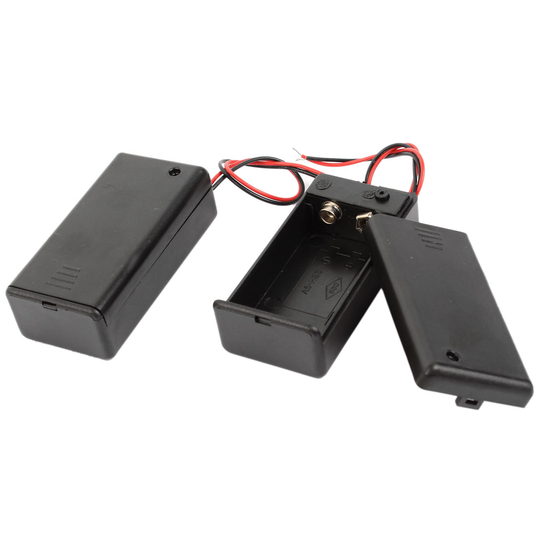 2 Pcs Wired Leads Black Plastic 9V Battery Storage Case Slot Holder