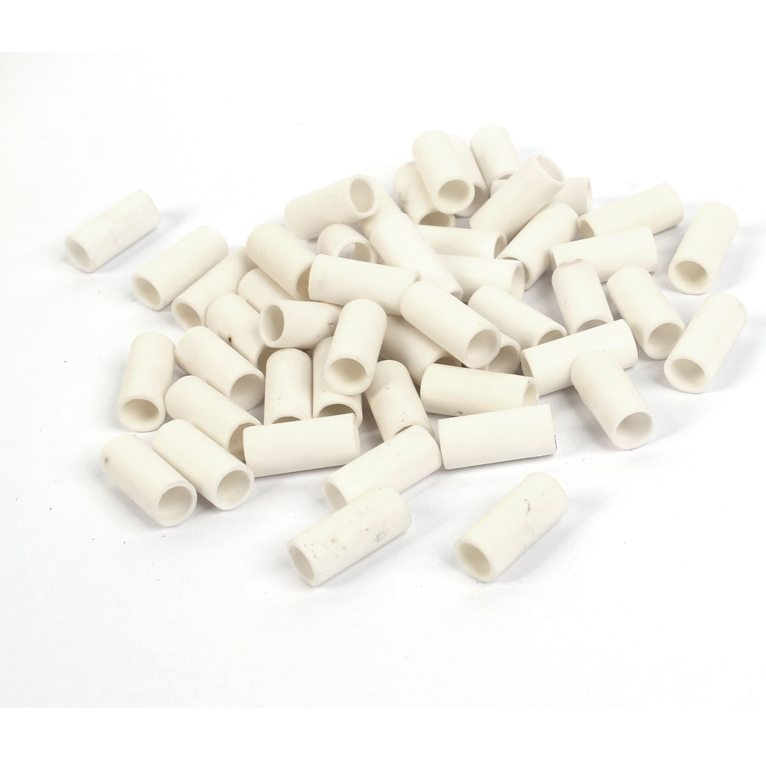 50 Pcs Electric Wiring Ceramic Insulation Pipe Tube White 8mmx6mmx17.5mm