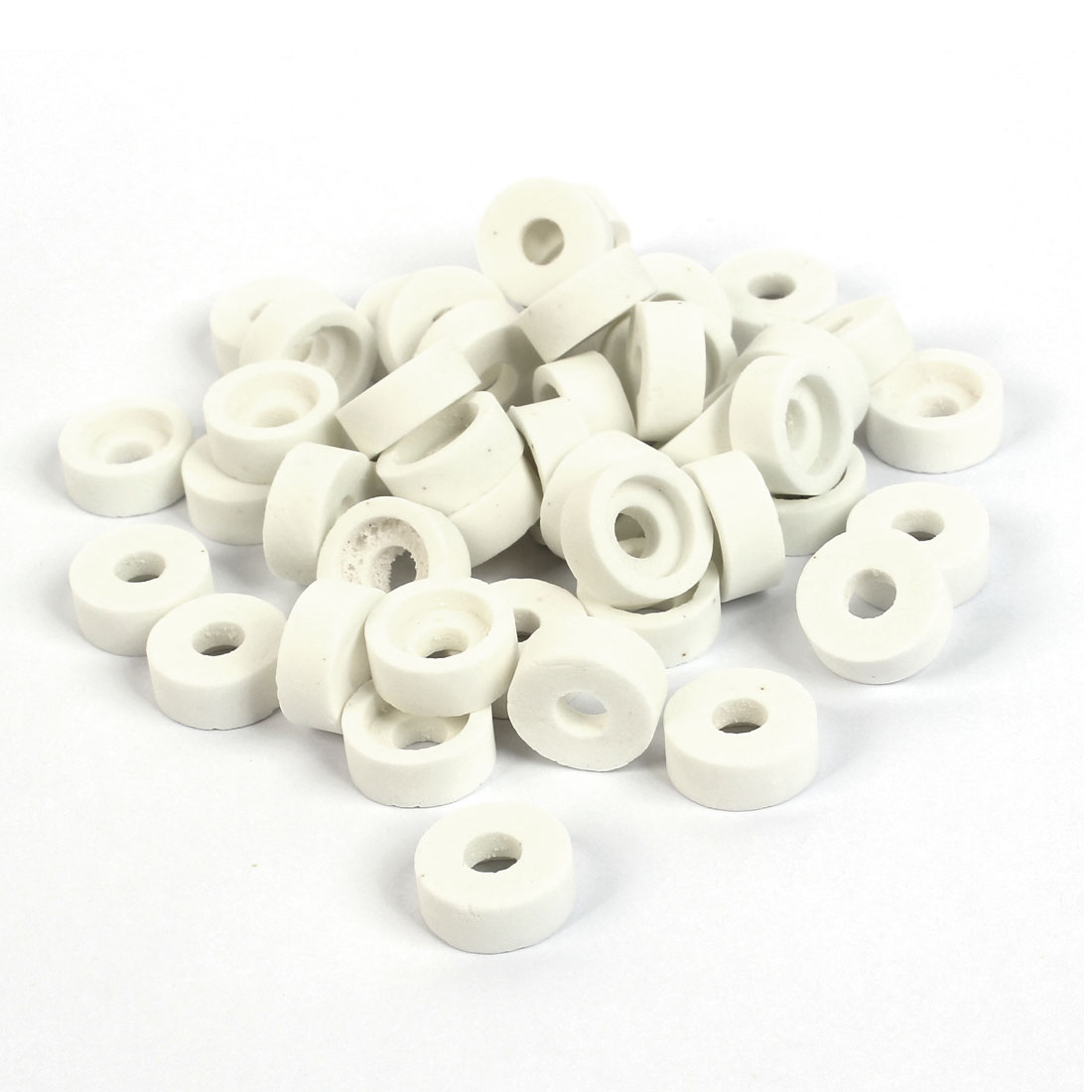 White 15mm OD 6mm Height Round Ceramic Insulation Protection Tube 50 Pcs