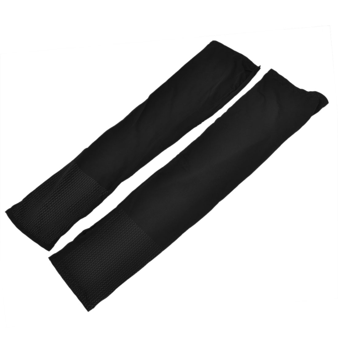 Woman Elastic Outdoor Activity Golf Sun Protection Arm Sleeves Black Pair