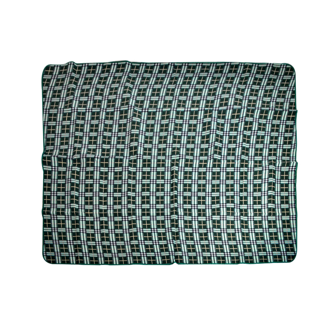 Grids Printed Dampproof Camping Picnic Mat Blanket Green 150cm x 130cm
