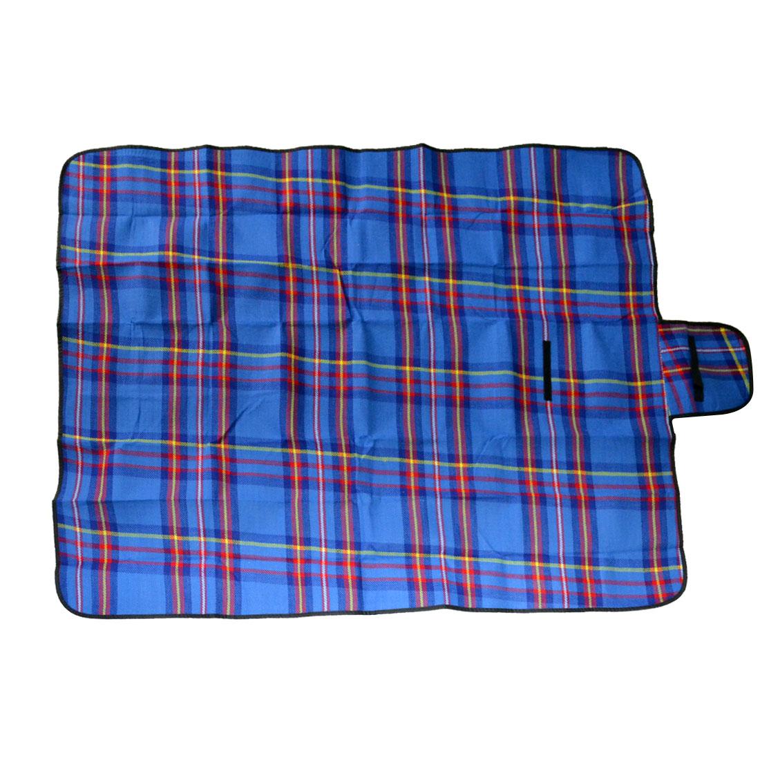 Grids Printed Waterproof Camping Picnic Mat Blanket Blue 150cm x 130cm