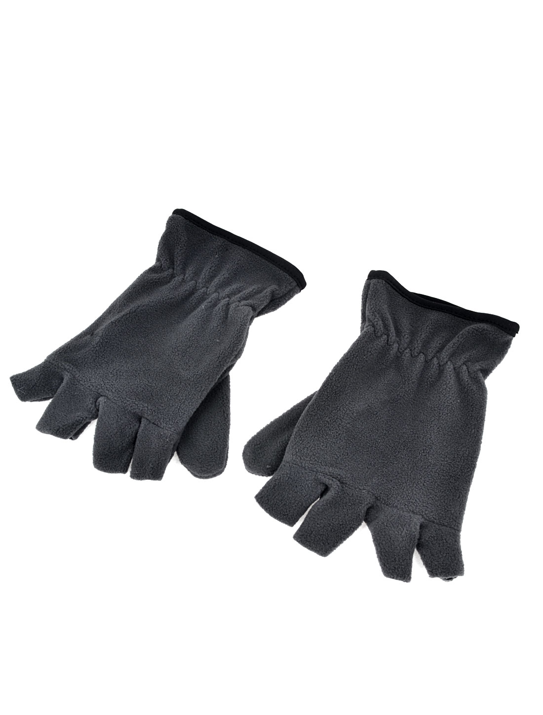 Unisex Sports Cycling Winter Warm Flannel Half Fingers Gloves Gray Pair