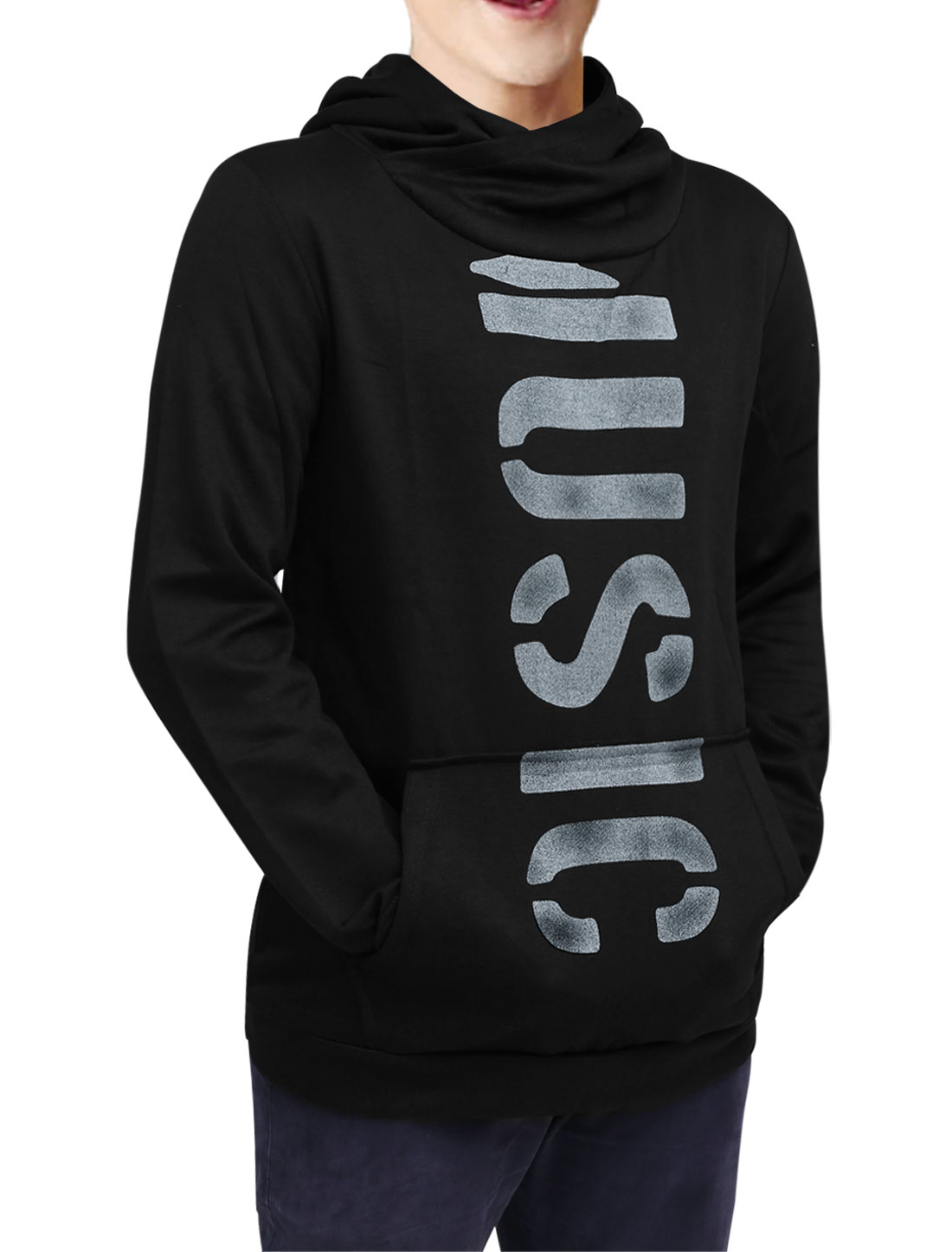 Men Slipover Long Sleeve Letters Printed Hooded Sweatshirt Black M