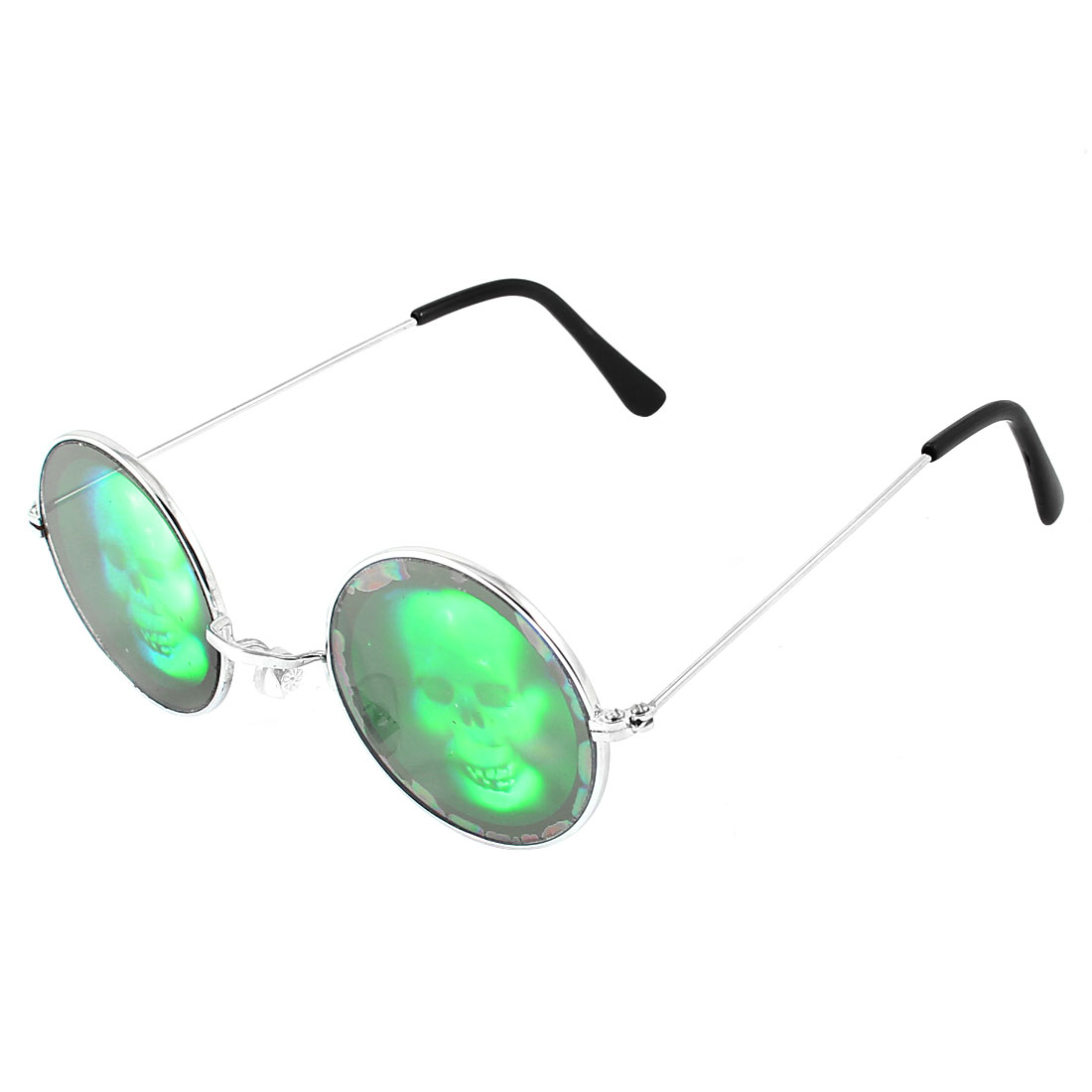 Funny Halloween Party Costume Round Skull Holographic Poker Glasses Hologram 3D Sunglasses