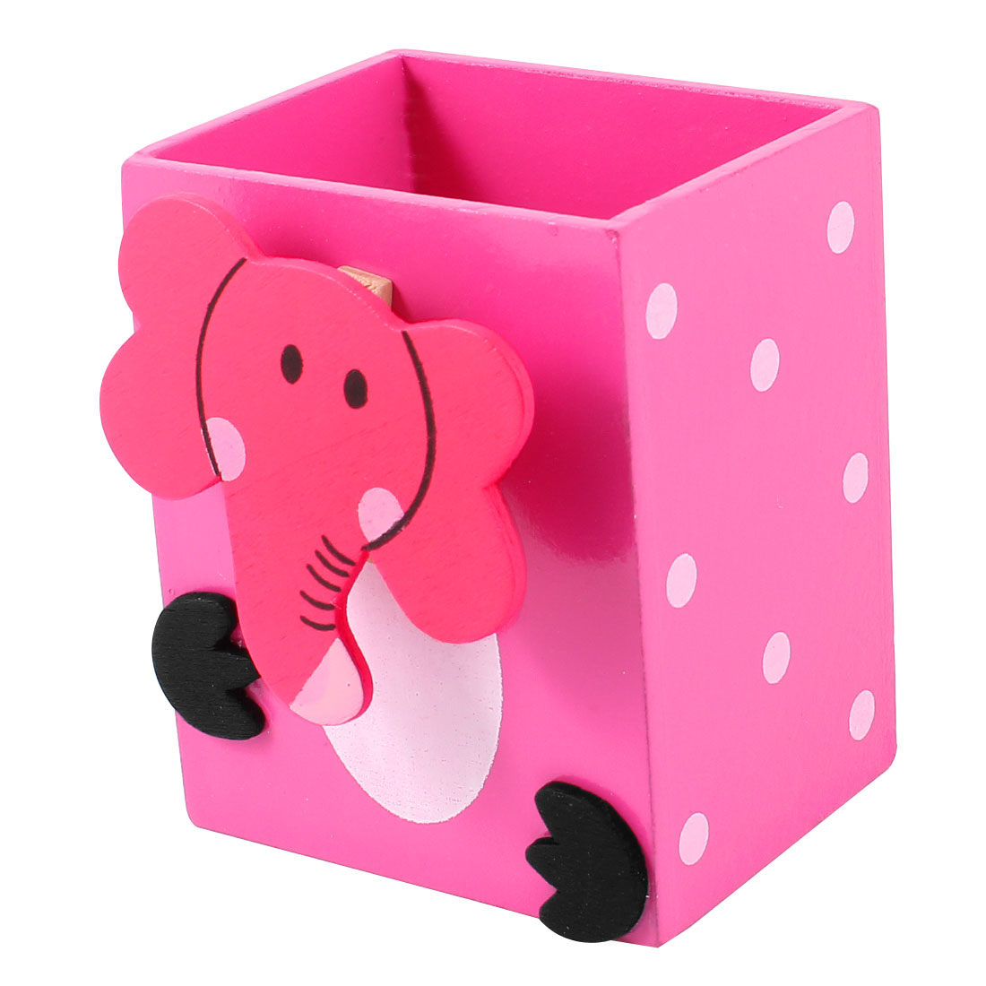Cartoon Elephant Decor White Dots Print Wooden Pen Holder Pencil Container Fuchsia