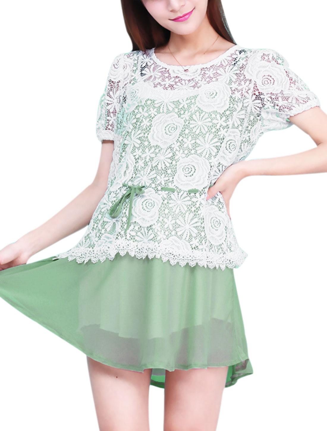 Maternity Crochet Splicing Flower Design Lining Sweet Chiffon Dress Light Green White XS