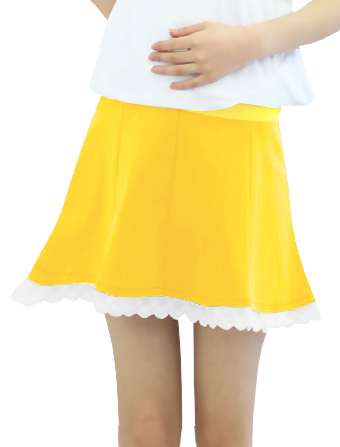 Motherhood Drawstring Button Adjust Waist Soft Skirt Yellow XS