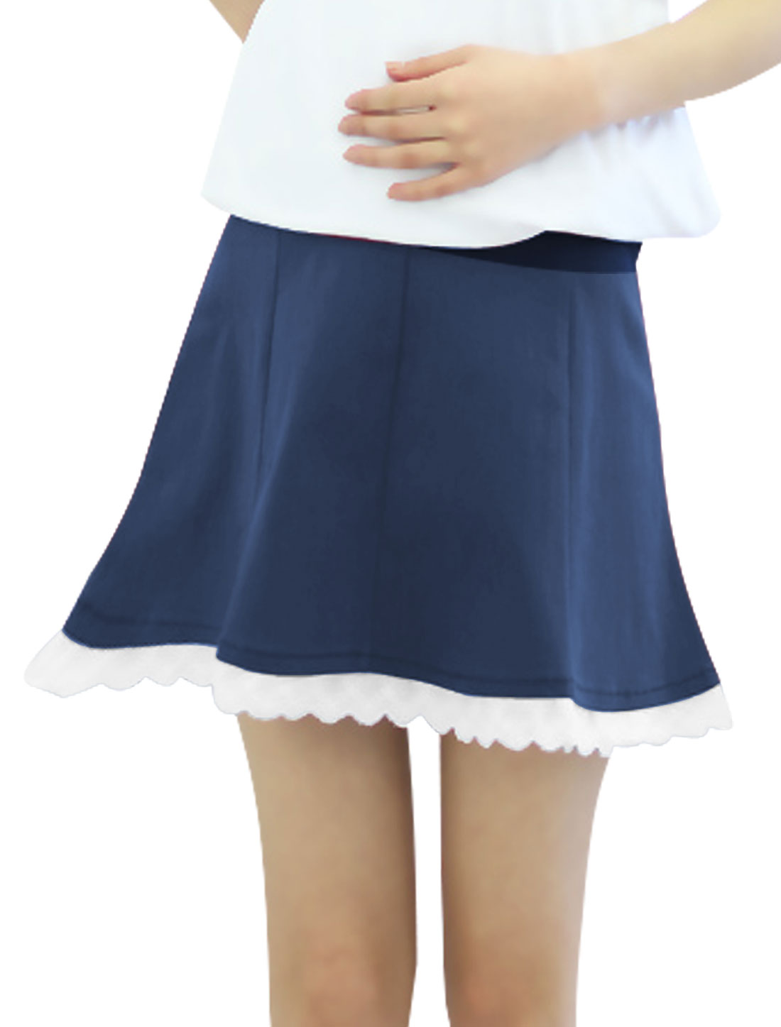 Motherhood Drawstring Button Adjust Waist A-Line Skirt Navy Blue XS