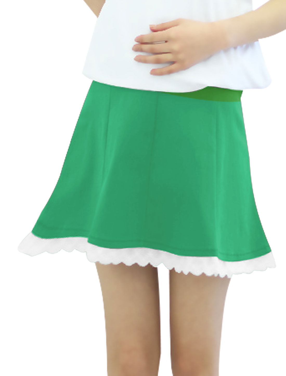 Motherhood Drawstring Button Adjust Waist Panel Style Skirt Green XS